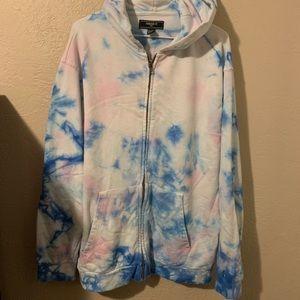 Baby pink and baby blue tye dye jacket.